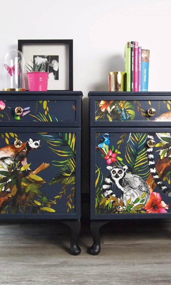 Pair of bedside tables, découpaged in Lemur wallpaper